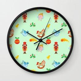 Nutcracker, rocking horse, angel and bird Christmas pattern Wall Clock
