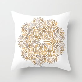 Mandala Multi Metallic in Gold Silver Bronze Copper Throw Pillow