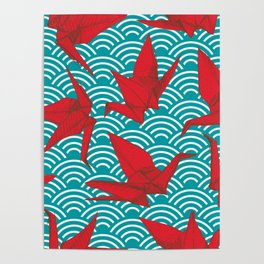 Origami red paper cranes sketch. burgundy maroon line Nature oriental Poster