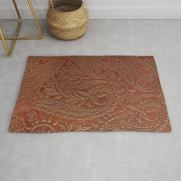 Rusty Tooled Leather Rug