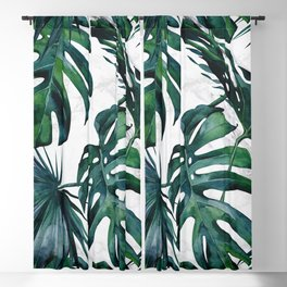 Tropical Palm Leaves Classic on Marble Blackout Curtain