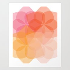 Geometric Flower Coral Peach Orange Pink Art Print