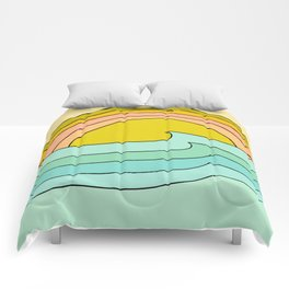daydreams glassy swells and sunrise radiate by surfy birdy Comforters