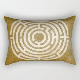 Solving Mazes Gold Rectangular Pillow