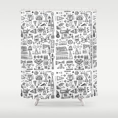 Triangle doodles Shower Curtain