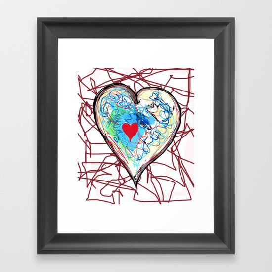 scribble heart Framed Art Print
