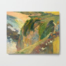Flageolet Player on Cliff, Paul Gauguin Metal Print