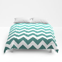 Sea Green Spectrum Chevrons Comforters