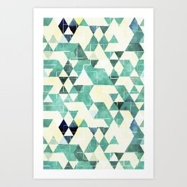 Abstract Green Triangles, Watercolor Pattern Art Print