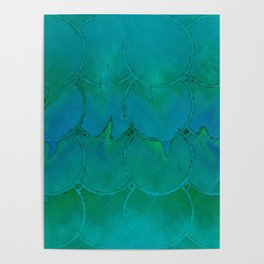 Mermaid Scales Green and Blue Poster