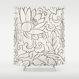 Woodblock Floral Shower Curtain