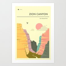ZION NATIONAL PARK POSTER Art Print