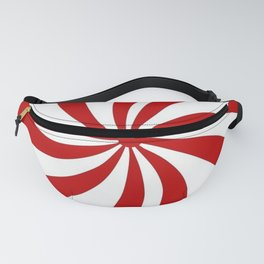 festive winter holiday candy land red and white lollipop candy swirls Fanny Pack