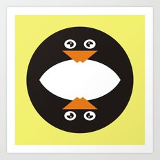CVAn0041 Whimsical Circle Penguin Art Print
