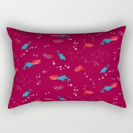 Red Shark and Dolphin Rectangular Pillow