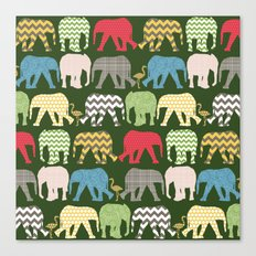 baby elephants and flamingos green Canvas Print
