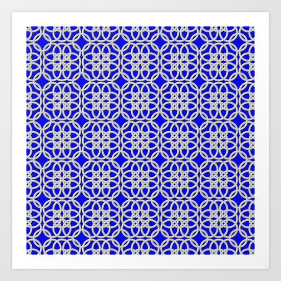 Lacey Pattern, White/Blue Art Print