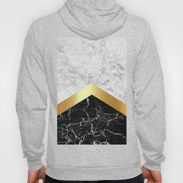 Arrows - White Marble, Gold & Black Granite #147 Hoody