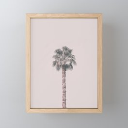 Tropical Palm Tree In Pastel Pink Light Framed Mini Art Print