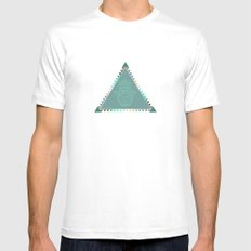 Merkaba Triangle Green MEDIUM White Mens Fitted Tee