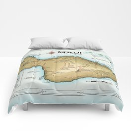 Maui [Atlas Inspired] Points of Interest Road Map Comforters