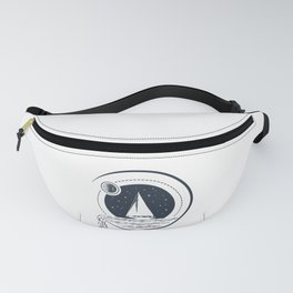 Creative Illustration In Geometric Style. Ship In The Ocean. Adventure, Travel And Nautical Fanny Pack