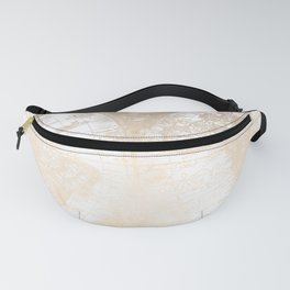 Antique White Gold World Map Fanny Pack