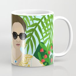 Tarot Reader Woman Mystic Cool Girl in Tropical Setting Horoscope Coffee Mug