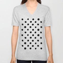 Modern Handpainted Abstract Polka Dot Pattern Unisex V-Neck