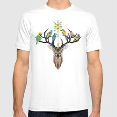 deer birds Mens Fitted Tee SMALL White