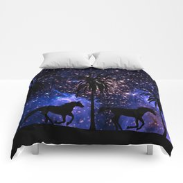 Galloping horses under starry sky Comforters