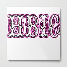 Hbic Vintage Letters Pink Metal Print