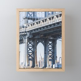 Manhattan Bridge Empire Blue Framed Mini Art Print