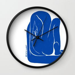Washing Nude in Matisse Blue Wall Clock
