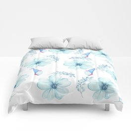 Renaissance Magic Gnome Blue Flowers Comforters