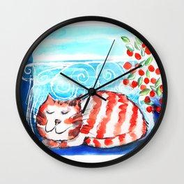 Kitty Siesta Wall Clock