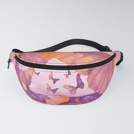 Butterflies In Flight - Pink And Purple Illustration #decor #society6 Fanny Pack