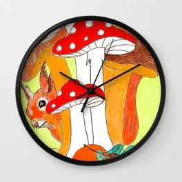 Squirrel & mushrooms Wall Clock