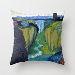 Floral Garden Landscape with Waterfall by Franz von Stuck Throw Pillow