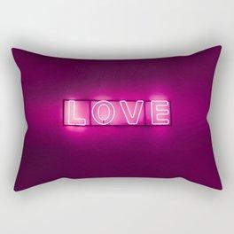 Love Neon Sign Rectangular Pillow