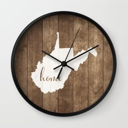 West Virginia is Home - White on Wood Wall Clock