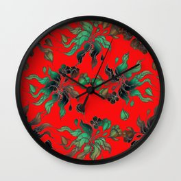 Vintage floral seamless pattern with hand drawn flowering crocus on the red background Wall Clock