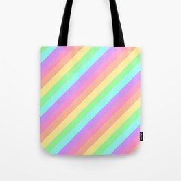 Pastel Rainbow Diagonal Stripes Tote Bag