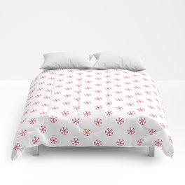 Crimson Red on White Snowflakes Comforters