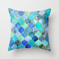 metal Throw Pillows featuring Cobalt Blue, Aqua & Gold Decorative Moroccan Tile Pattern by micklyn