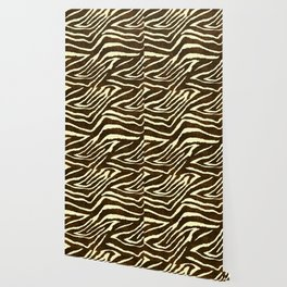 Animal Print Zebra in Winter Brown and Beige Wallpaper