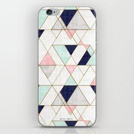 Mod Triangles - Navy Blush Mint iPhone Skin