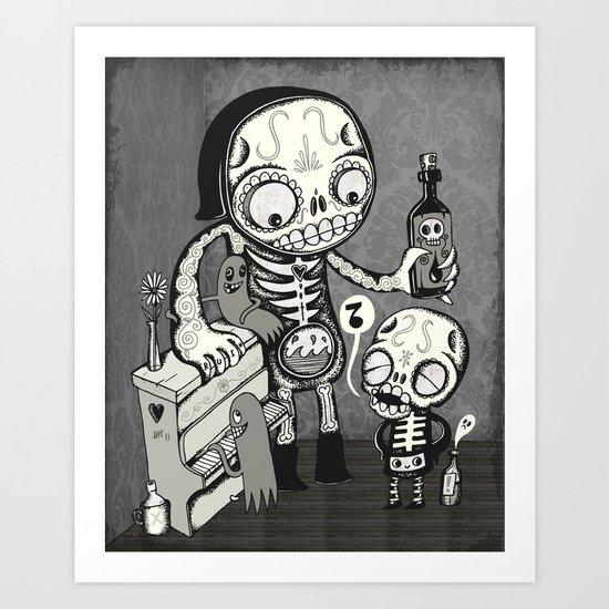 Skulls Night Out Art Print