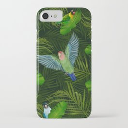 Lovebirds and tropical leafs iPhone Case