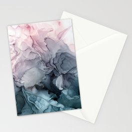 Blush and Paynes Gray Flowing Abstract Reflect Stationery Cards